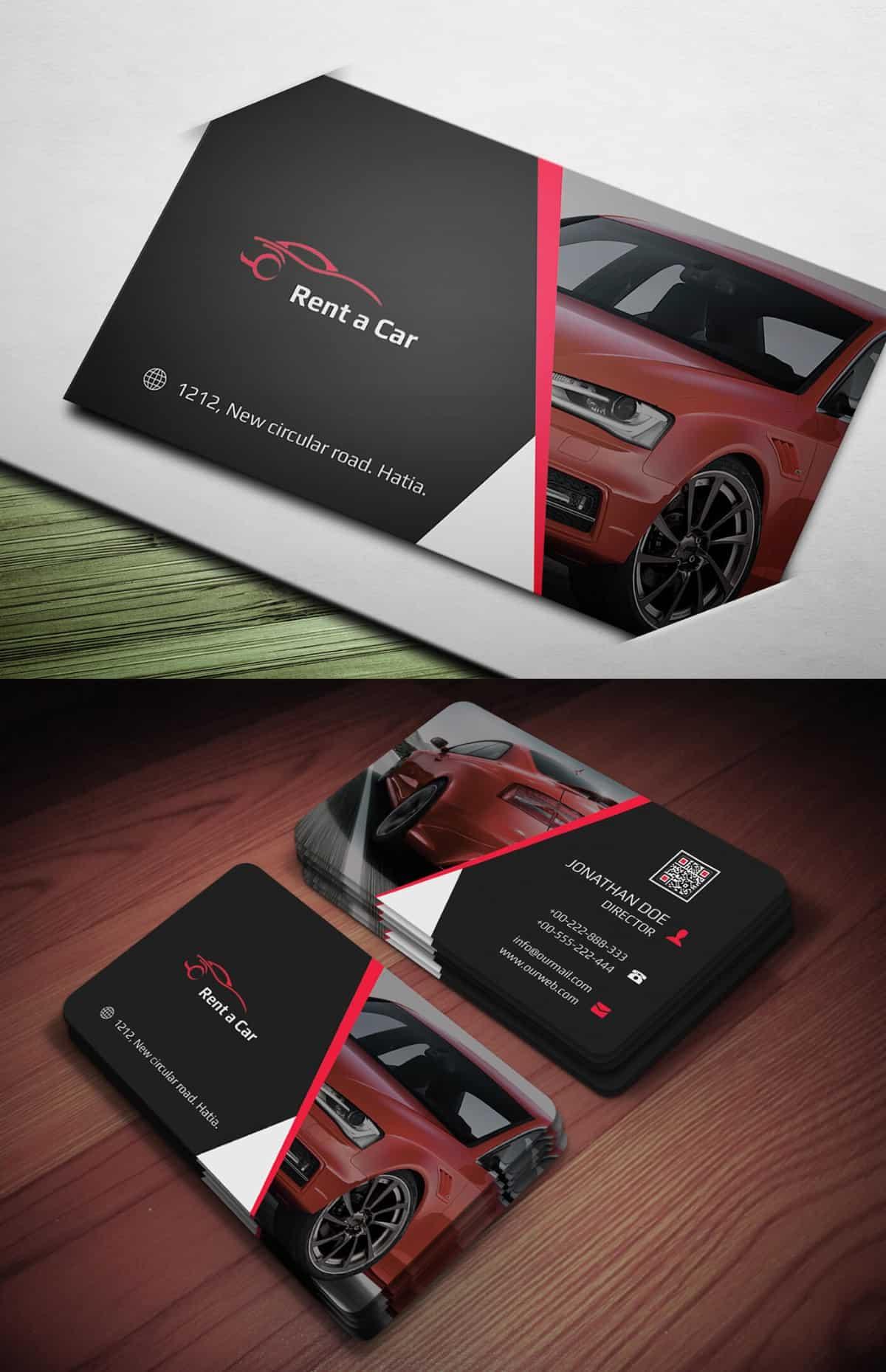 汽車銷售、汽車租賃的名片設計