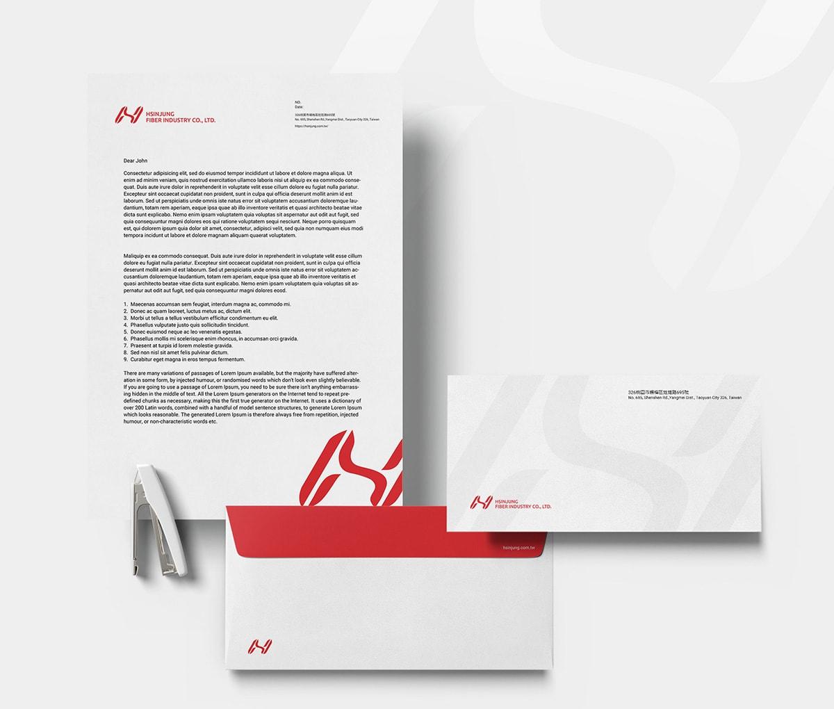 紡織業信封信紙設計