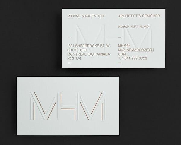 燙金/壓印的名片設計
