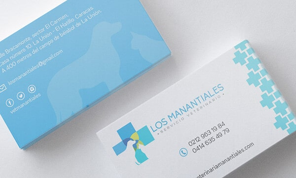 動物醫院主題的名片設計(藍色)