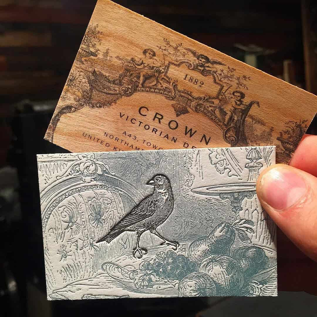古典木紋名片設計